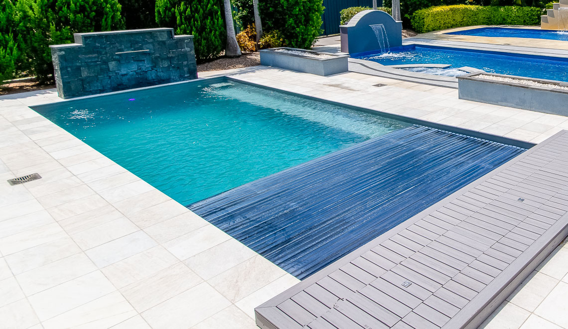 Leisure Pools Reflection plus Cover Box fiberglass in-ground swimming pool