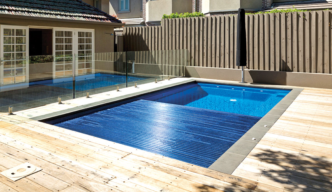 Leisure Pools Reflection plus Cover Box in-ground fiberglass swimming pool